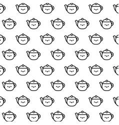 pattern cute teapots kawaii style vector image