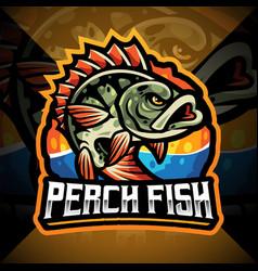 Perch fish esport mascot logo design vector