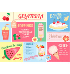 Pleismat one-page menu for ice cream and drinks vector