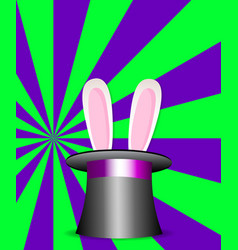 Rabbit ears in magic hat green and violet sunburs vector