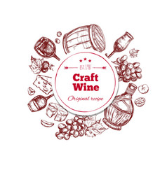 Red wine craft production concept vector