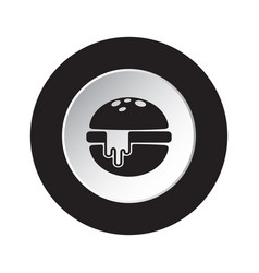 Round black white icon - hamburger with cheese vector