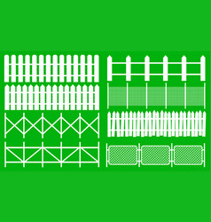Rural wooden fences pickets white silhouettes vector