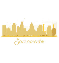 sacramento city skyline golden silhouette vector image