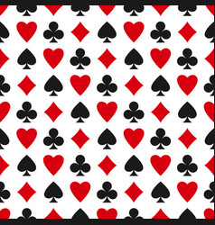 Seamless pattern with card suits - hearts clubs vector