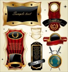 Set of golden luxury frames vector