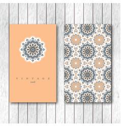 Set of two ornamental floral mandala cards vector