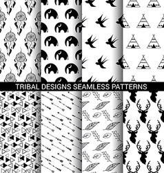 set tribal designs seamless patterns vector image