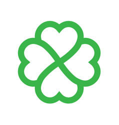 shamrock silhouette - green outline four leaf vector image