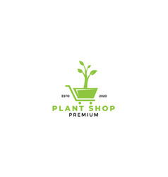 Shopping cart trolley plant or vegetable logo vector