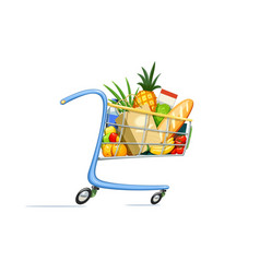 shopping cart with foodstuff vector image