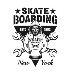 skeleton in hoodie skateboarding emblem vector image