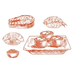 Sketched seafood icons with sushi salmon caviar vector