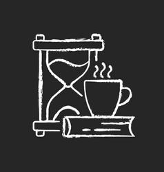 Slow living chalk white icon on dark background vector