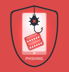 smartphone phishing attack concept vector image