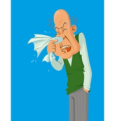 Sneezes older man vector