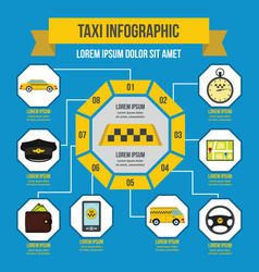 Taxi infographic concept flat style vector