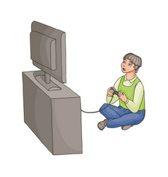Teenage boy playing game console on tv vector