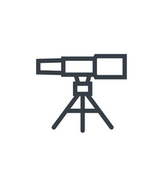 Telescope astronomy line icon on white vector