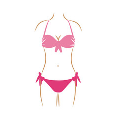 Thin contour of woman in two pieces swimsuit in vector