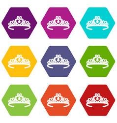 Tiara crown icons set 9 vector