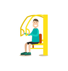 Training outside people flat vector