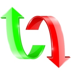 Up and down curved arrow green and red signs vector