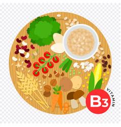 Vitamin b3 flat diet vector