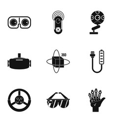 Vr game equipment icons set simple style vector