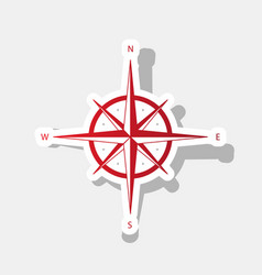 wind rose sign new year reddish icon with vector image