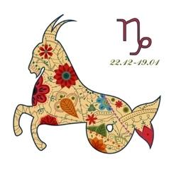 Capricorn zodiac sign retro vector image vector image