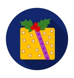 Christmas gift with holly berry icon in flat style vector image vector image