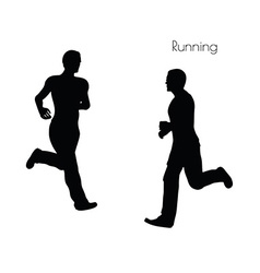 Man in running pose on white background vector