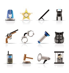 police and crime icons vector image vector image