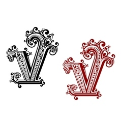 Capital letter V with floral elements vector image