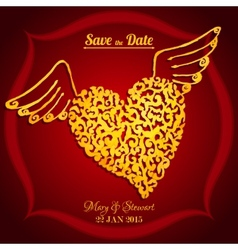 Save the date card with watercolor flying heart vector image vector image