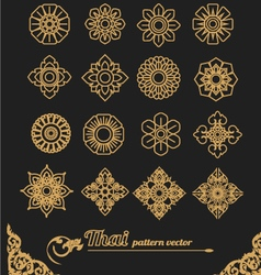 set of thai ornament design and icon flower vector image vector image