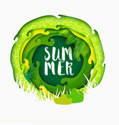 summer lettering on paper art banner vector image vector image