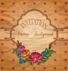 vintage invitation with roses vector image vector image