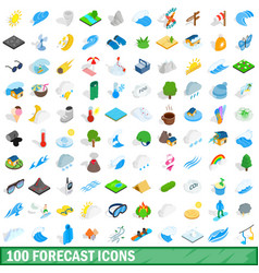 100 forecast icons set isometric 3d style vector