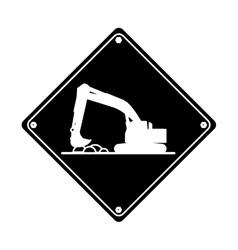 excavator truck construction work hard pictogram vector image