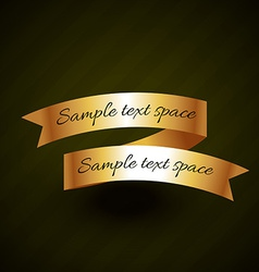 golden ribbon design with space for your text vector image vector image
