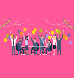 Group of cheerful diverse business people vector