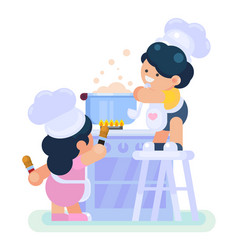 happy little funny girl and boy cook chef helping vector image