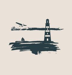 lighthouse on brush stroke seashore vector image vector image