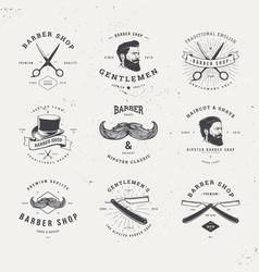 barber shop logo set vector image