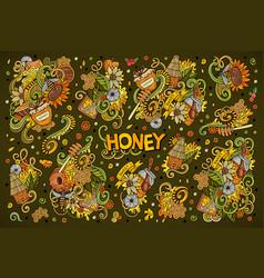 Cartoon set of honey theme doodles design vector