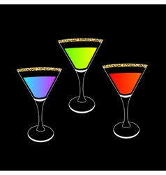 Cocktail set in martini glass Party card Glowing vector image