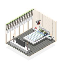 futuristic bedroom interior isometric composition vector image