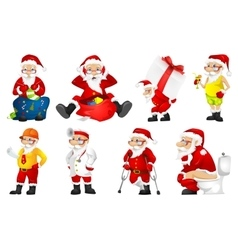 set for christmas with Santa Claus vector image vector image